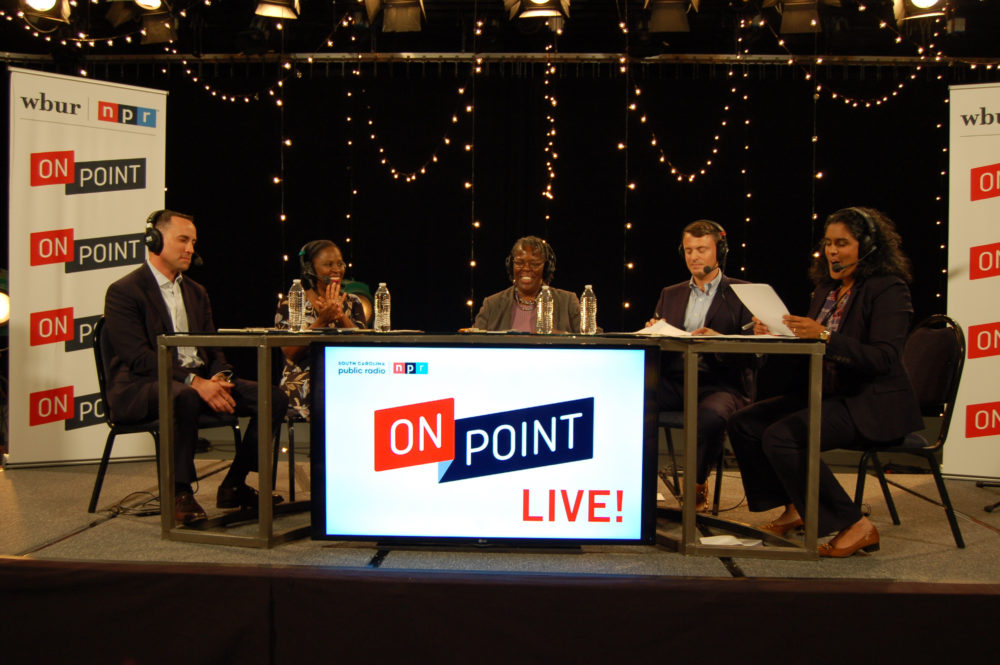 On Point host Meghna Chakrabarti (right) with South Carolina Public Radio roundtable panelists. From left to right: Matt Moore, Rev. Tiffany Knowlin Boykin, Rep. Gilda Cobb-Hunter and Gavin Jackson. (Gaines Halford/SCETV)