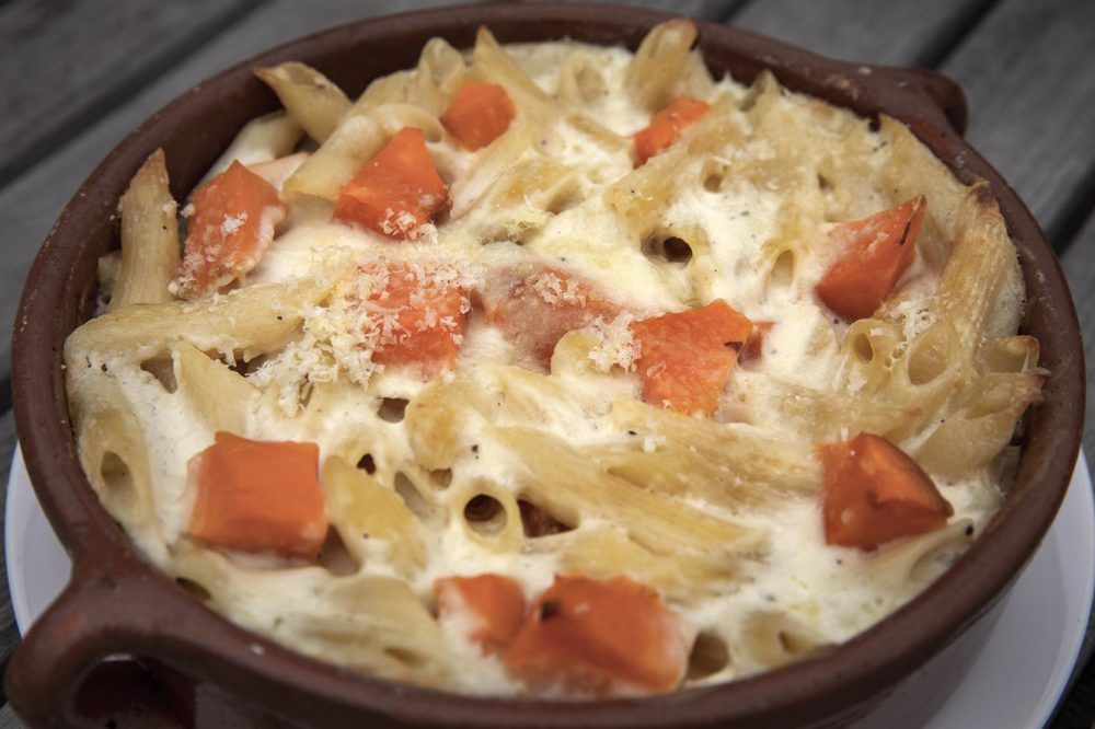 Sweet Potato Mac and Cheese by chef Kathy Gunst. (Robin Lubbock/WBUR)