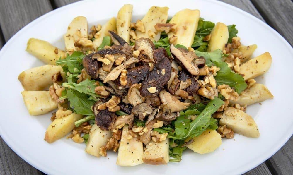 Roasted Apple and Mushroom Salad on Arugula (Robin Lubbock/WBUR)