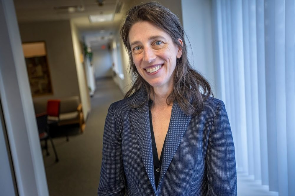 """Alexandra Horowitz, head of the Dog Cognition Lab at Barnard College, Columbia University, and author of """"Our Dogs, Ourselves: The Story of a Singular Bond."""" (Jesse Costa/WBUR)"""