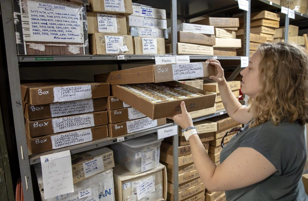 Jessica Donohue, a senior research assistant at Sea Education Association, looks into a box filled with vials of plastic material filtered from the ocean. (Robin Lubbock/WBUR)