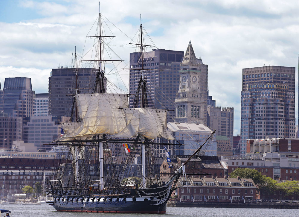The ship is scheduled to go from Charlestown Navy Yard Friday morning to Fort Independence on Castle Island and fire a 21-gun salute. (Stephan Savoia/AP file photo)