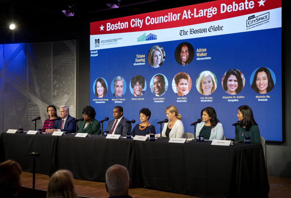 "All eight candidates for the four at-large seats on the Boston City Council participate in a debate on WBUR's ""Radio Boston."" (Robin Lubbock/WBUR)"