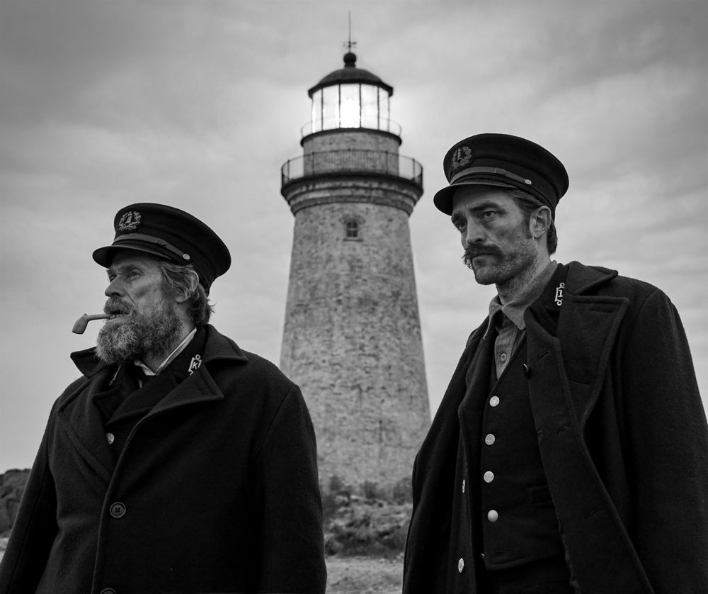 "Willem Dafoe and Robert Pattinson in Robert Eggers' ""The Lighthouse."" (Courtesy A24)"