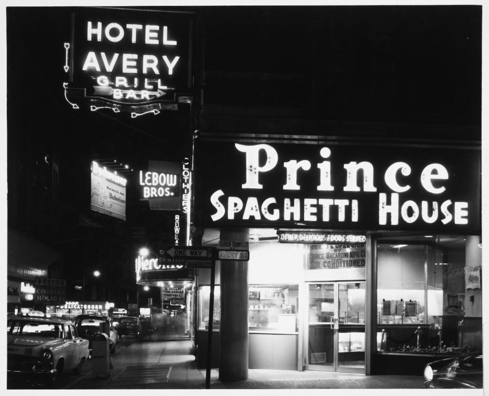 A Prince Spaghetti House at the corner of Avery and Washington streets in Boston in the mid 20th century. (Courtesy MIT-Libraries)
