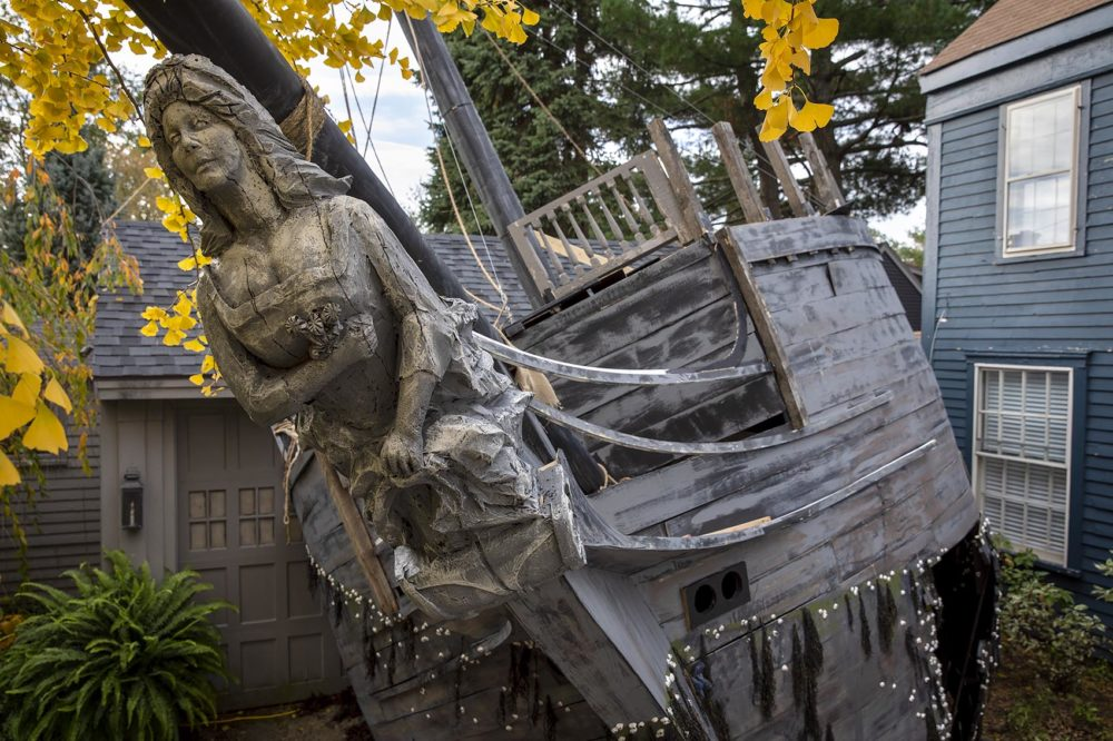 Thomas Saltsman's ghost shipwreck, which covers the front of his garage on Pleasant Street in Marblehead. (Robin Lubbock/WBUR)