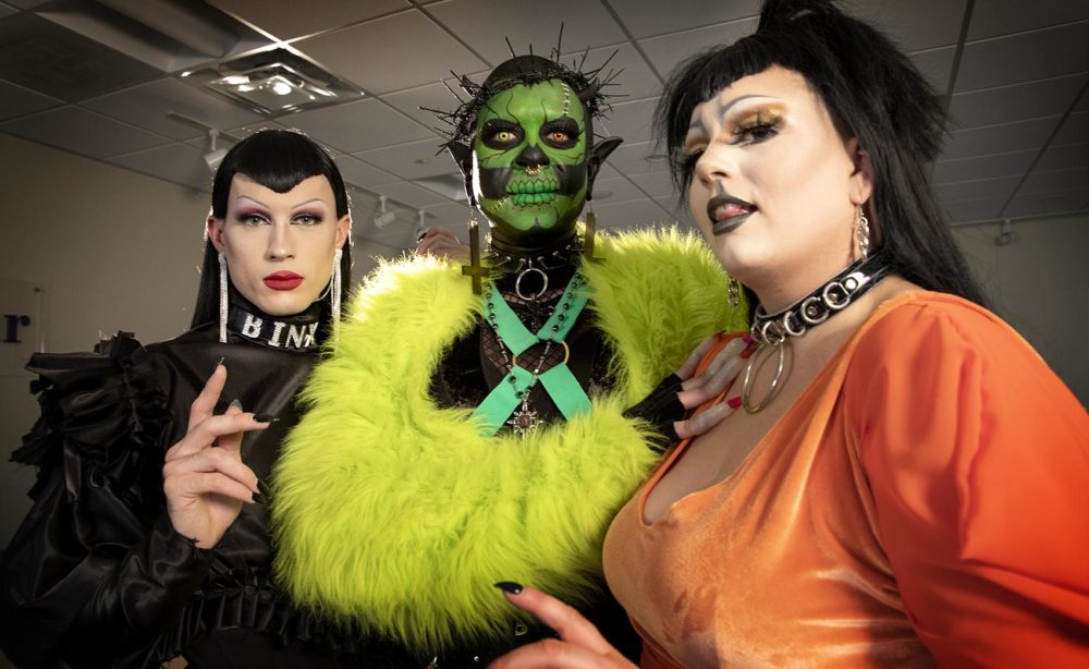 Binx, Severity Stone, and Kirbie Fully Loaded are Boston-based drag performers. (Robin Lubbock/WBUR)