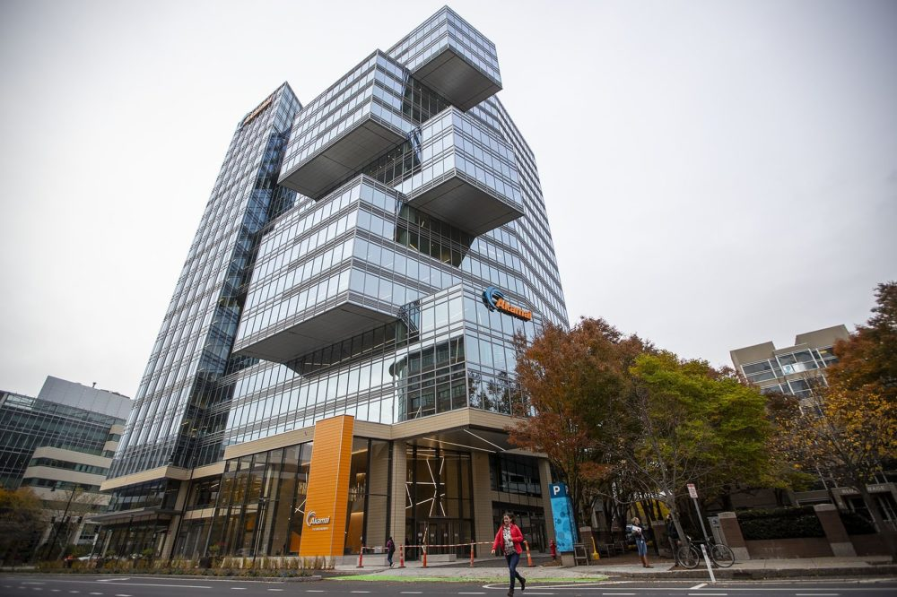The new Akamai Tower on Broadway in Kendall Sq. (Jesse Costa/WBUR)