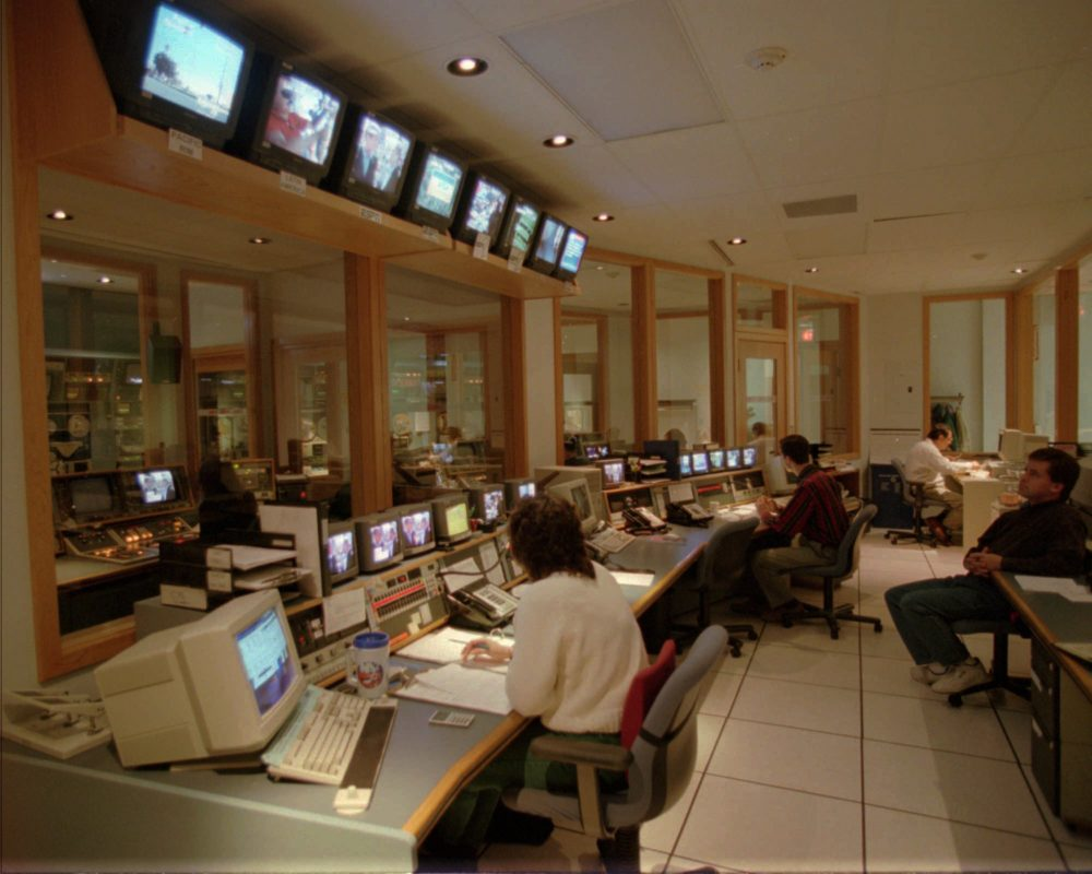 The master control room at ESPN headquarters in 1995. ESPN first went on the air in 1979. (Bob Child/AP)