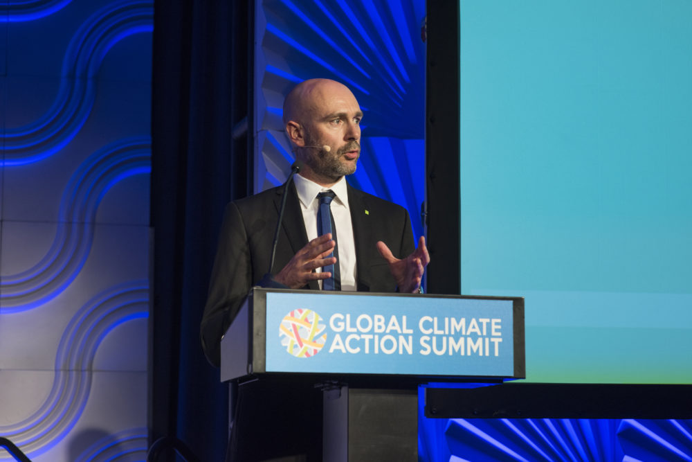 C40 Cities Executive Director Mark Watts speaks at the Global Climate Action Summit in San Francisco in September 2018. (Scout Tufankjian/C40 Cities Flickr)