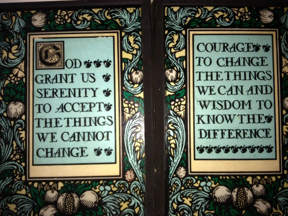 A stain glass illustration of the Serenity Prayer, the common name for a prayer written by 20th century American theologian Reinhold Niebuhr. (Bill Densmore Sr./Flickr)