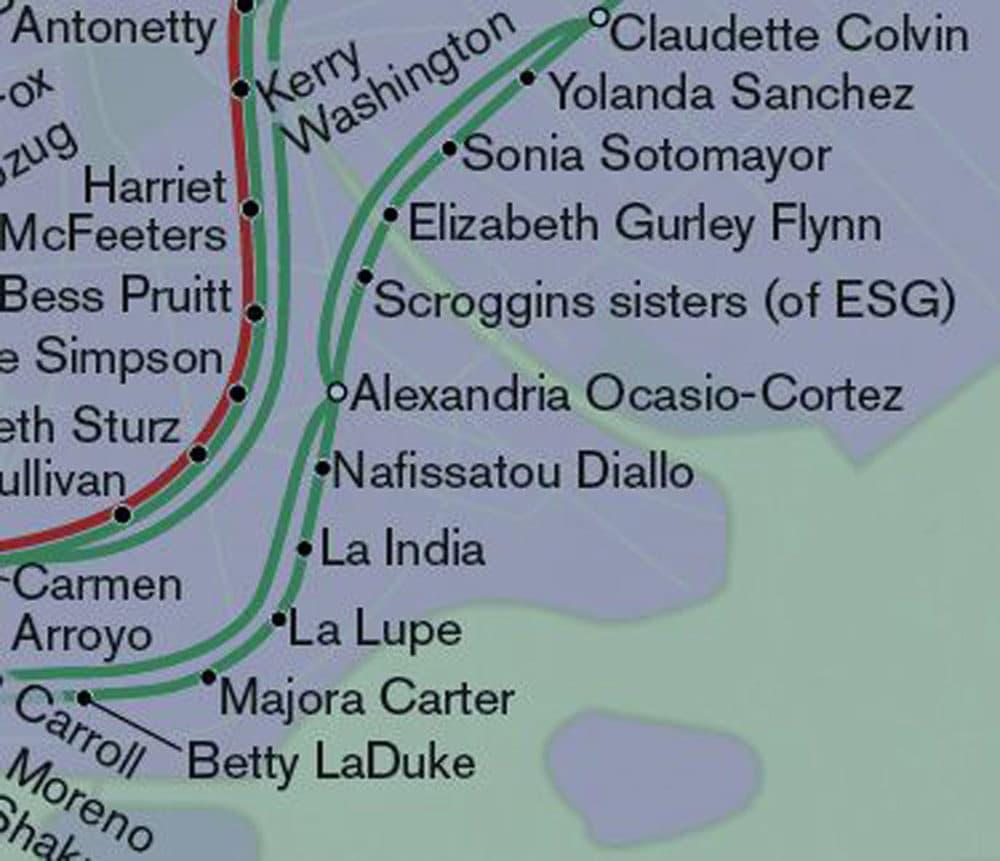 "Part of the ""City of Women"" map where Alexandria Ocasio-Cortez's stop is. (Courtesy of Joshua Jelly-Schapiro)"