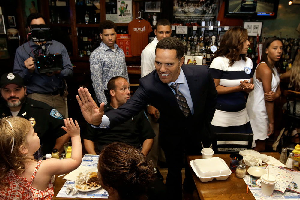 Businessman Steve Pemberton, 52, center, who launched his 2020 Senate campaign in July, announced the end to his campaign in an email Monday. (Steve Senne/AP)