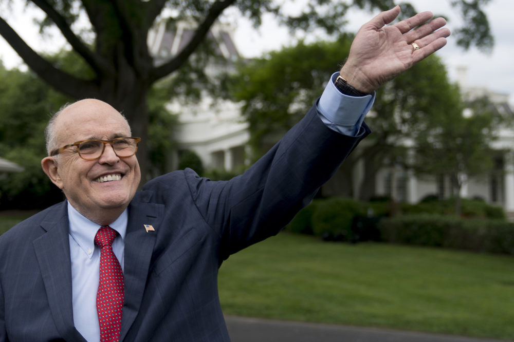 In this Tuesday, May 29, 2018 file photo, Rudy Giuliani, an attorney for President Donald Trump, waves to people during White House Sports and Fitness Day on the South Lawn of the White House, in Washington. (Andrew Harnik, File/AP)