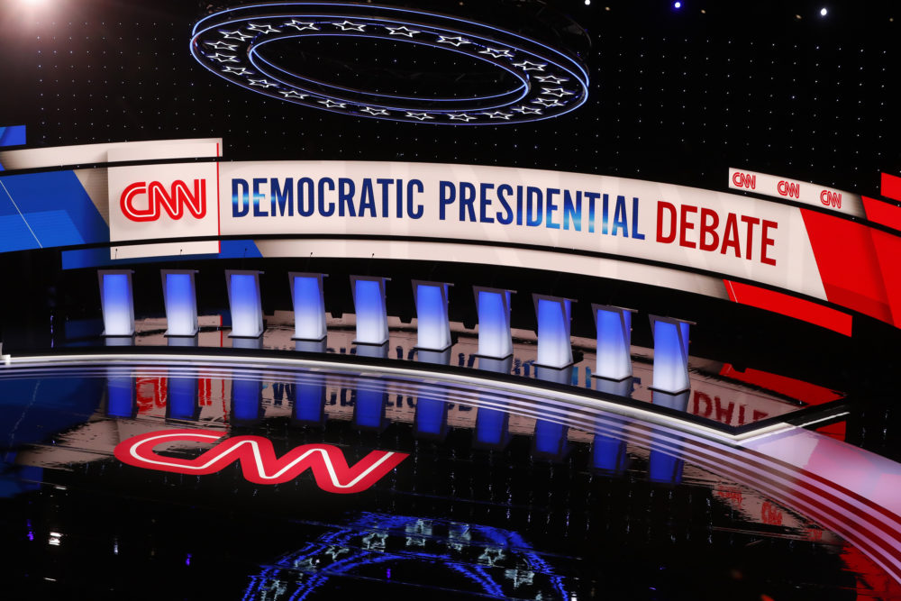 The stage for the second of two Democratic presidential primary debates hosted by CNN is shown, July 31, 2019, in the Fox Theatre in Detroit. (AP Photo/Paul Sancya)