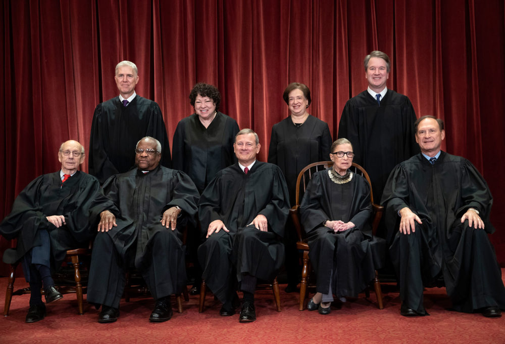 In this 2018 file photo, the justices of the U.S. Supreme Court gather for a formal group portrait. (J. Scott Applewhite/AP)