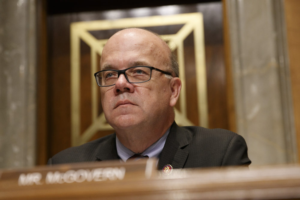 Rep. Jim McGovern, D-Mass., chair of the bipartisan Congressional Executive Commission on China (CECC), listens during a congressional hearing to examine developments in Hong Kong, Sept. 17, 2019, on Capitol Hill. (Jacquelyn Martin/AP)
