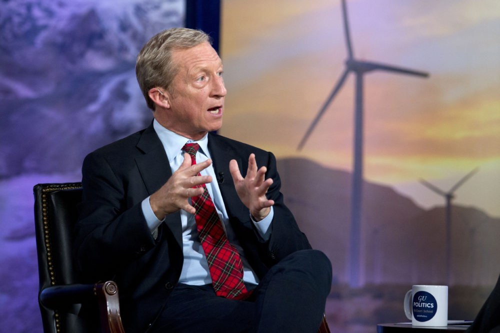 Democratic presidential candidate and businessman Tom Steyer speaks during the Climate Forum at Georgetown University, Friday, Sept. 20, 2019, in Washington. (Jose Luis Magana/AP)