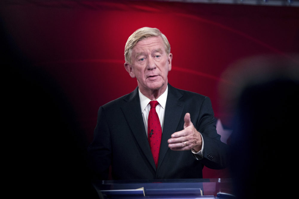 Republican presidential candidate and former Massachusetts Gov. Bill Weld speaks at a debate, hosted by Business Insider, in New York on Sept. 24. (Julius Constantine Motal/AP)