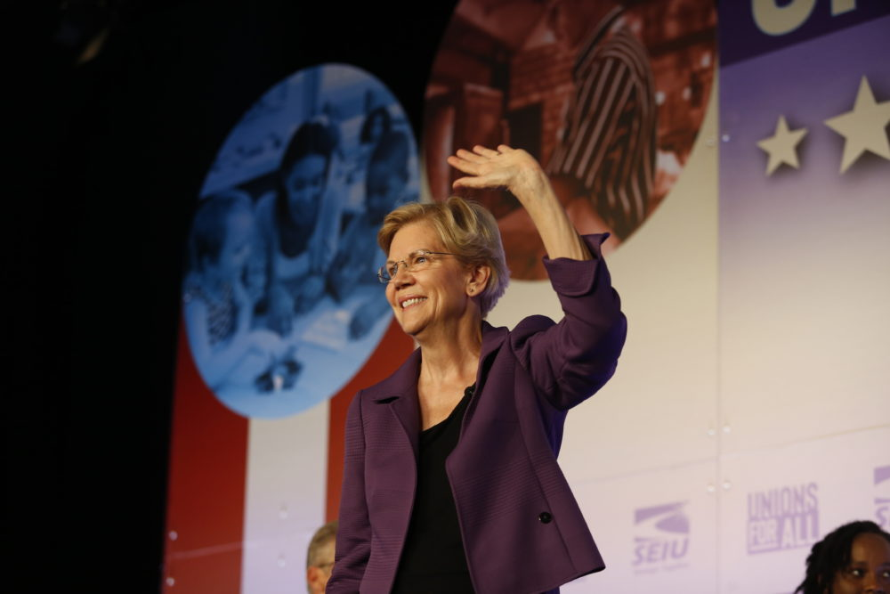Democratic presidential candidate Sen. Elizabeth Warren, D-Mass., speaks in SEIU Unions For All Summit on Oct. 4 in Los Angeles. (Ringo H.W. Chiu/AP)