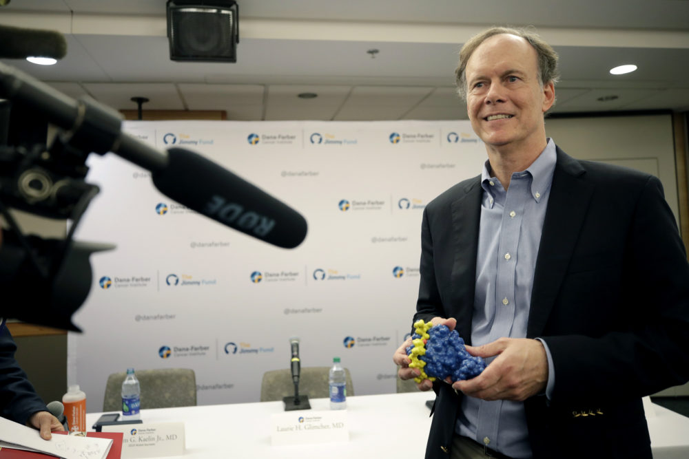 William G. Kaelin Jr. holds a model of his work as he speaks at a news conference, Monday, Oct. 7, 2019, in Boston, after he was awarded the Nobel Prize for Physiology or Medicine. Kaelin, who teaches at Harvard Medical School, shares the prize with Peter J. Ratcliffe and Gregg L. Semenza for their discoveries of how cells sense and adapt to oxygen availability, the Nobel Committee announced Monday. (Elise Amendola/AP)