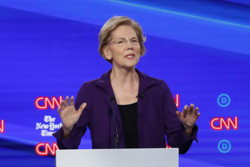 Democratic presidential candidate Sen. Elizabeth Warren, D-Mass., speaks during a Democratic presidential primary debate Tuesday in Westerville, Ohio. (John Minchillo/AP)