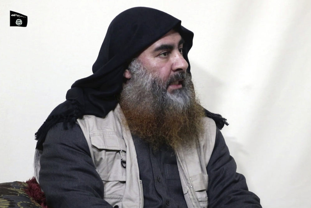 This file image made from video posted on a militant website April 29, 2019, purports to show the leader of the Islamic State group, Abu Bakr al-Baghdadi. (Al-Furqan media via AP, File)