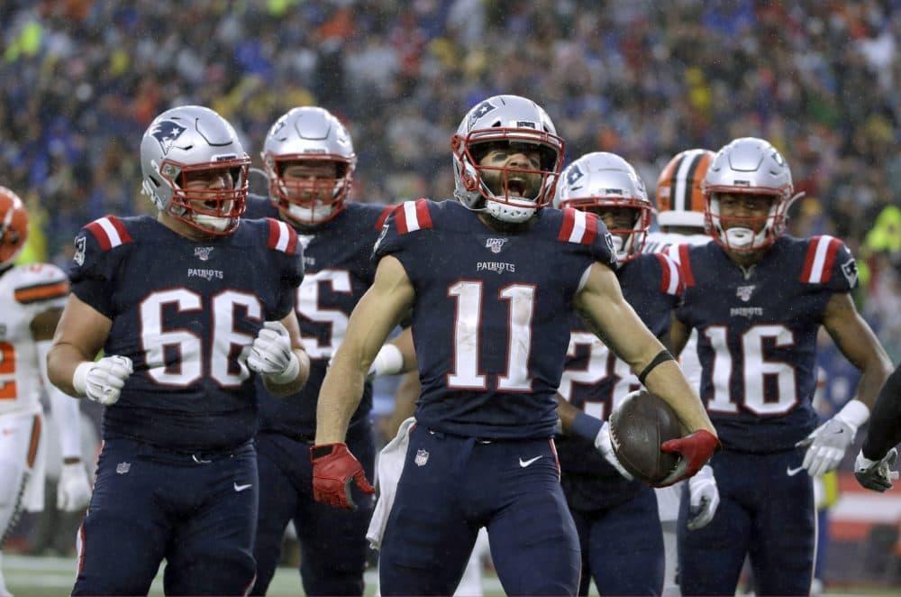 Patriots wide receiver Julian Edelman, center, celebrated a touchdown at Gillette Stadium last season. (Steven Senne/AP)