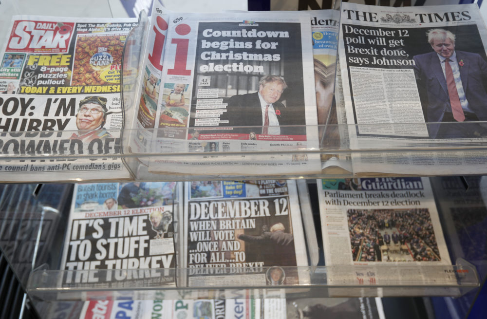 Newspaper front pages referring to the upcoming general election are displayed at a newsagent in London, Wednesday, Oct. 30, 2019. (Frank Augstein/AP)