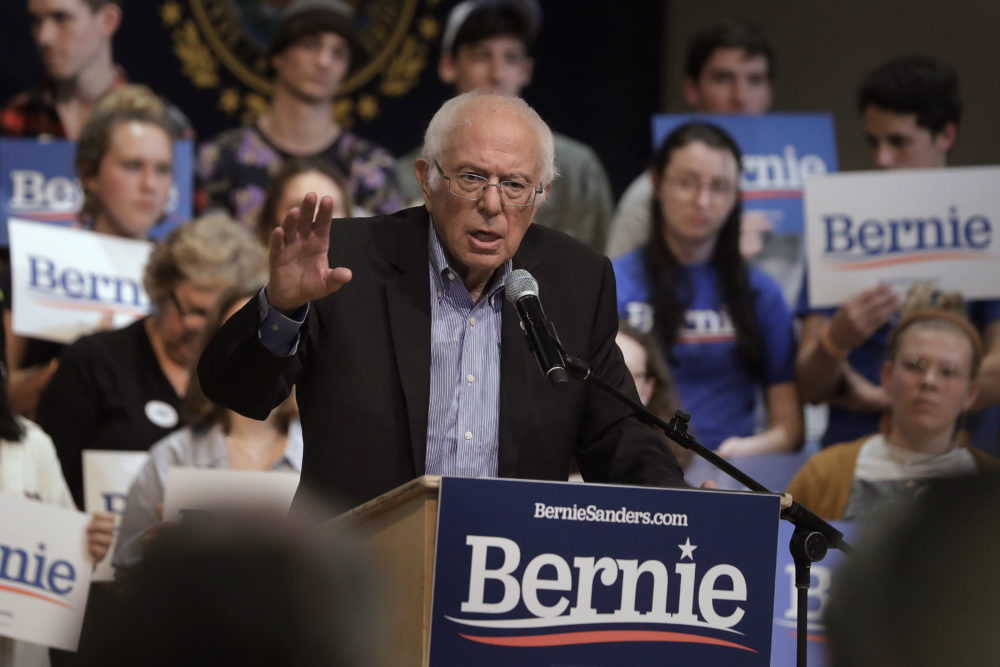 Democratic presidential candidate Sen. Bernie Sanders, I-Vt., speaks to a crowd, Oct. 30, 2019, during a campaign event in Keene, N.H. (Steven Senne/AP)