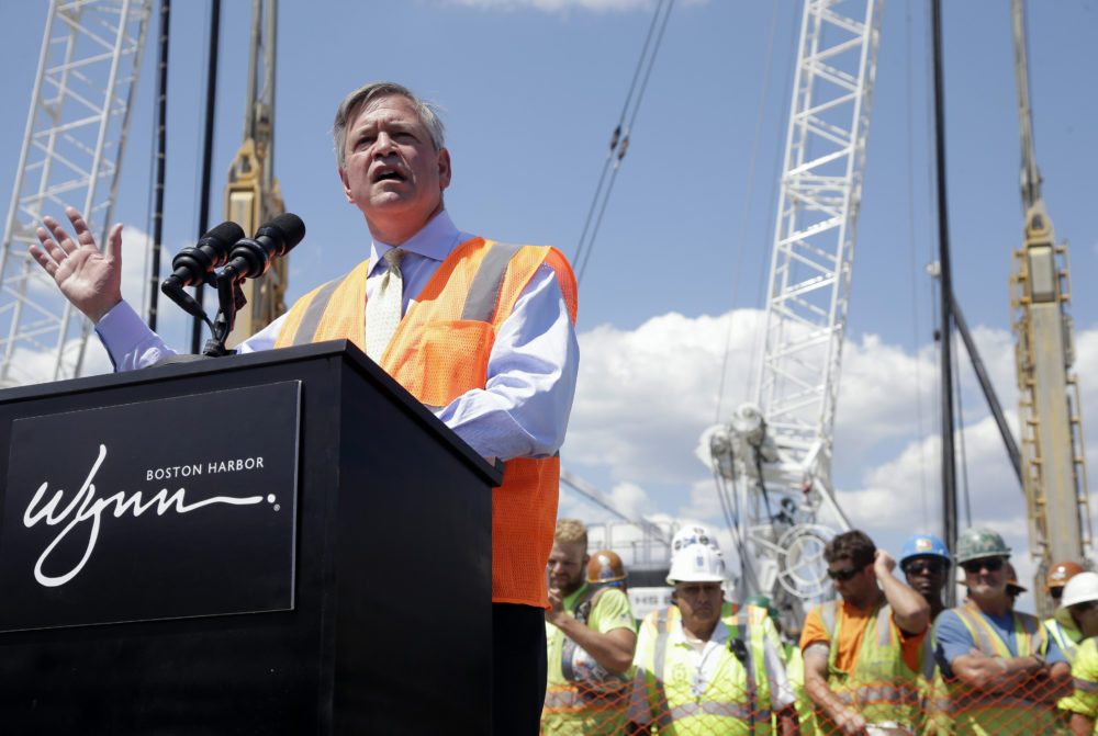 Wynn Boston Harbor President Robert DeSalvio addresses an audience during a news conference at the construction site of the Wynn Boston Harbor resort casino complex, in Aug. 2016. (Steven Senne/AP)