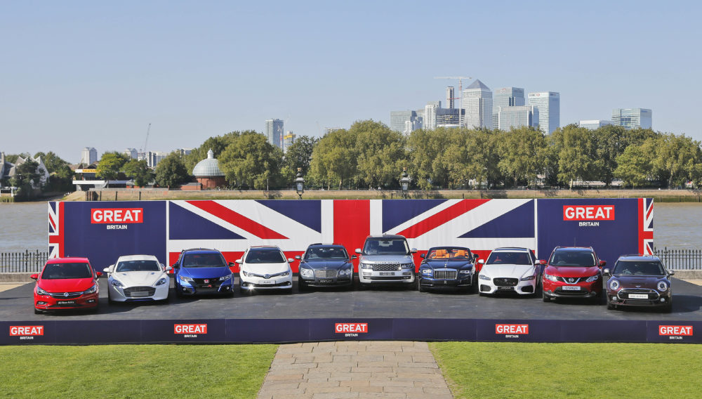 Ten British built cars line up before departing for the Frankfurt motor show in London. (Frank Augstein/AP)