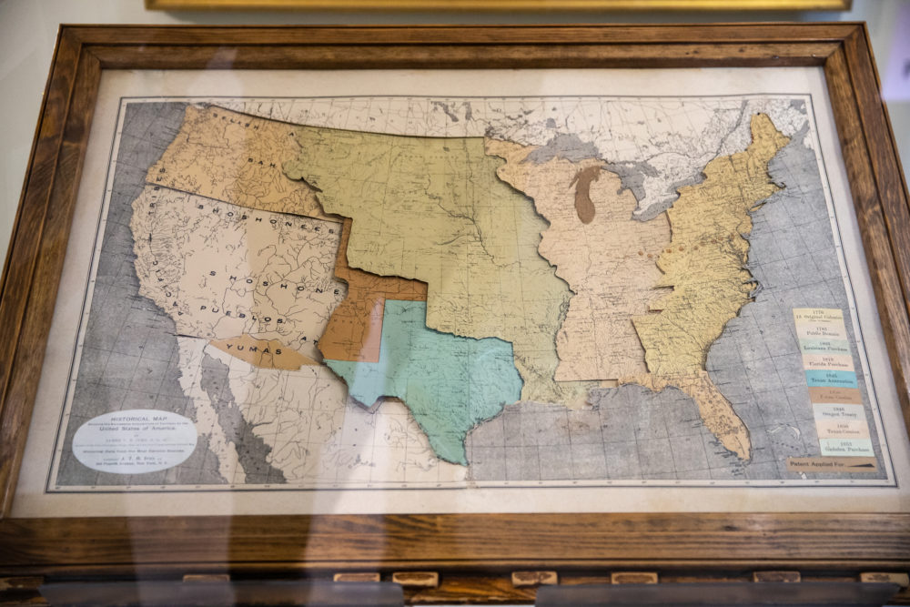 Mapmaker James Ives created this mechanical map to help people, especially students, visualize the changes that happened during the 19th century. The top map labels the tribes that occupied different regions, while the lower layers represents the territorial growth of the United States. (Courtesy Aram Boghosian)