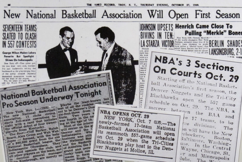 Newspapers clippings from 1949 clearly state that the BAA-NBL merger created a new league. (Karen Given/Only A Game)