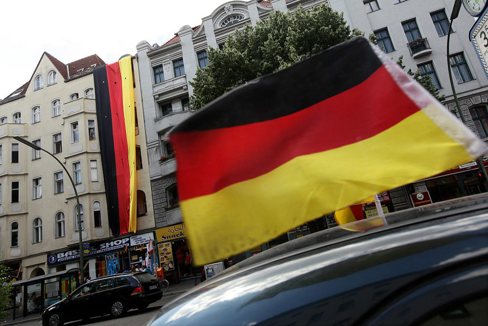 A car decorated with a German flag in Berlin, Germany. (Sean Gallup/Getty Images)