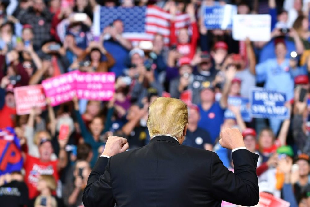 Trump speaks during a rally at the Mid-America Center in Council Bluffs, Iowa. (Mandel Ngan/AFP/Getty Images)
