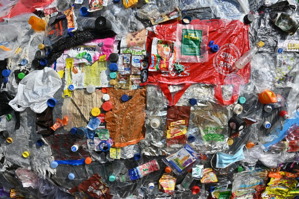 This picture shows rubbish from single-use plastics during a protest in Indonesia on July 21, 2019. (Adek Berrt/AFP/Getty Images)