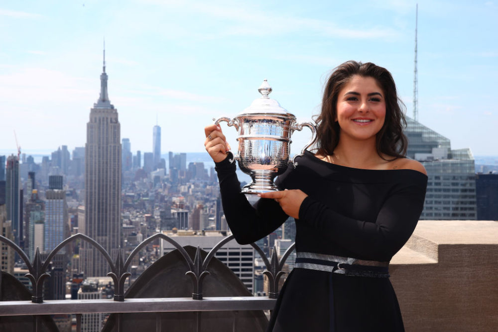 Bianca Andreescu of Canada poses with her trophy at the Top of the Rock in Rockefeller Center on September 8, 2019. (Mike Stobe/Getty Images)