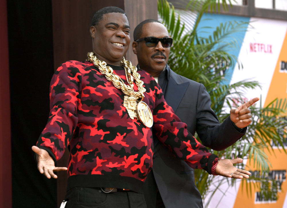 """Tracy Morgan and Eddie Murphy attend the LA premiere of Netflix's """"Dolemite Is My Name"""" at Regency Village Theatre on September 28, 2019 in Westwood, California. (Frazer Harrison/Getty Images)"""