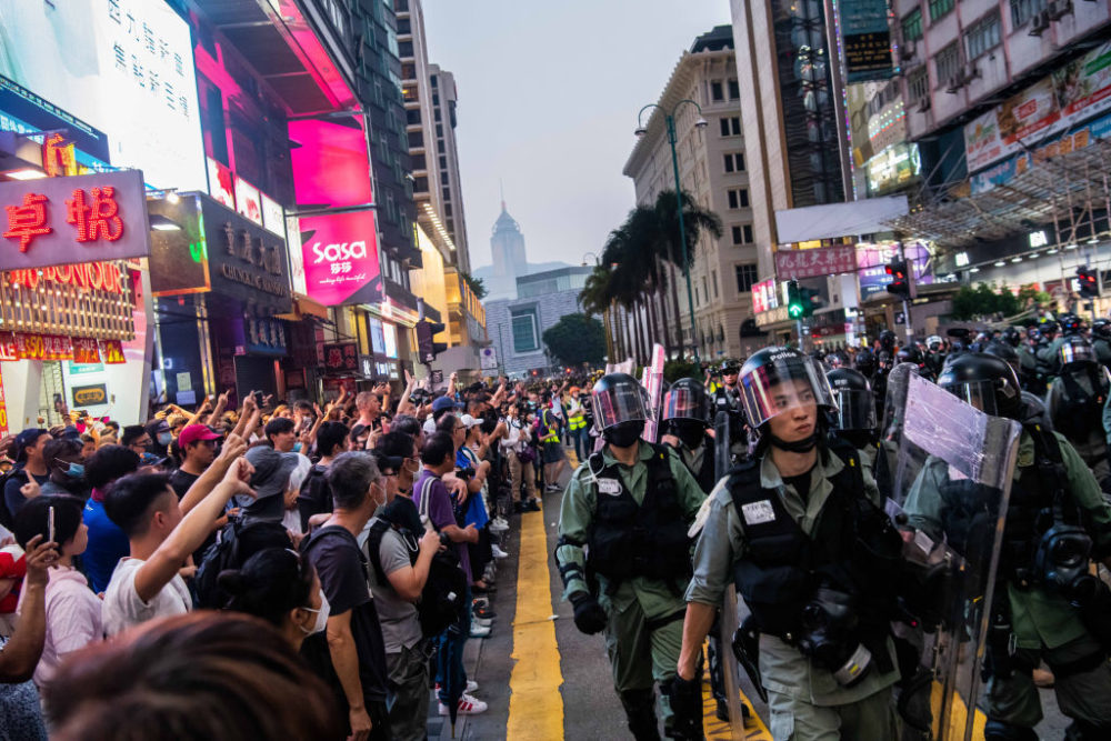 Protesters stand off against riot police in Tsim Sha Tsui district on October 27, 2019 in Hong Kong, China. (Billy H.C. Kwok/Getty Images)