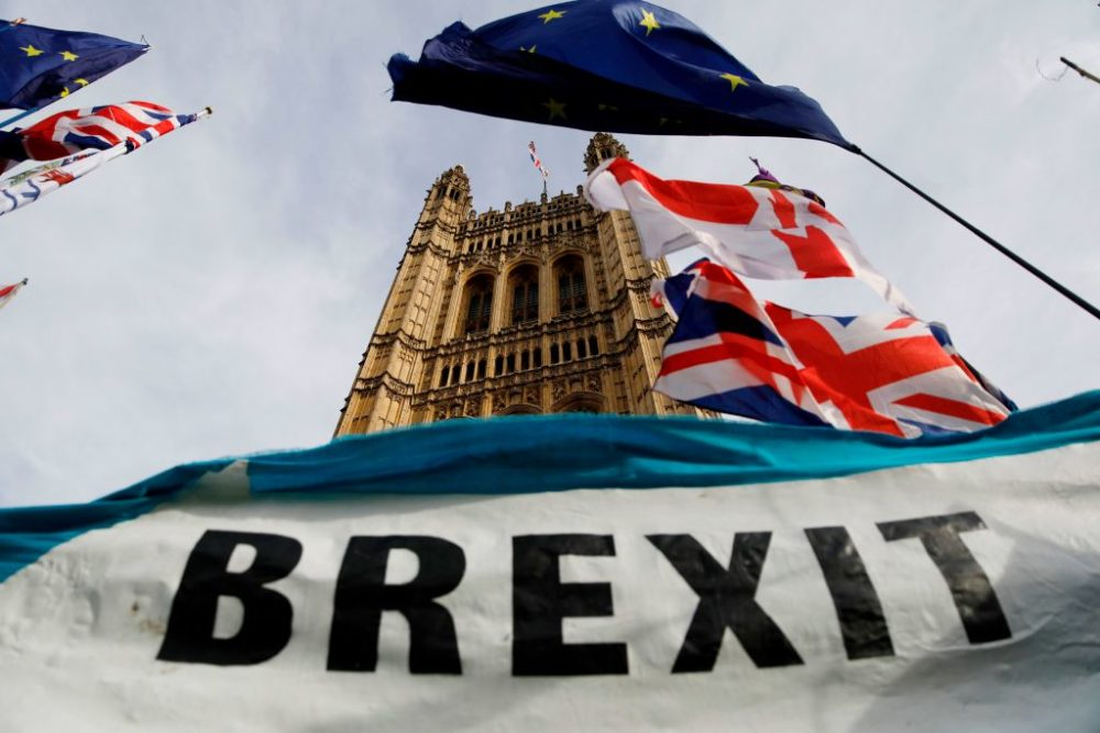 A Brexit banner is seen outside the Houses of Parliament in London on October 30. 2019. (Tolga Akmen/AFP/Getty Images)