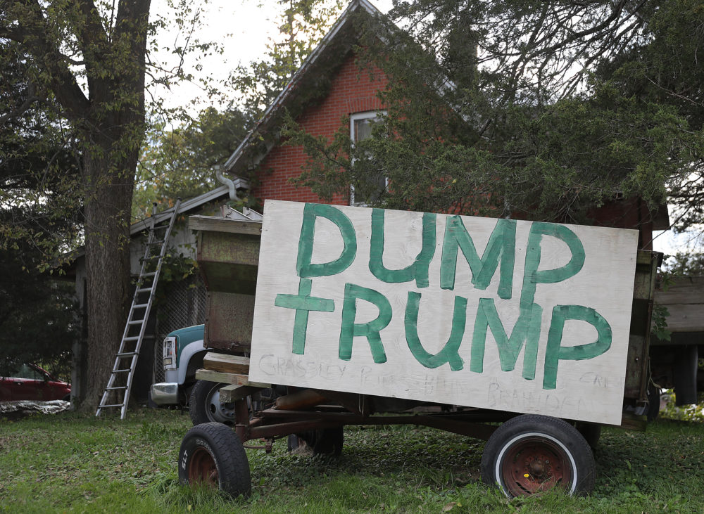 "A sign reading ""Dump Trump"" is seen on the front yard of a home on Oct. 13, 2019, in Iowa. (Joe Raedle/Getty Images)"