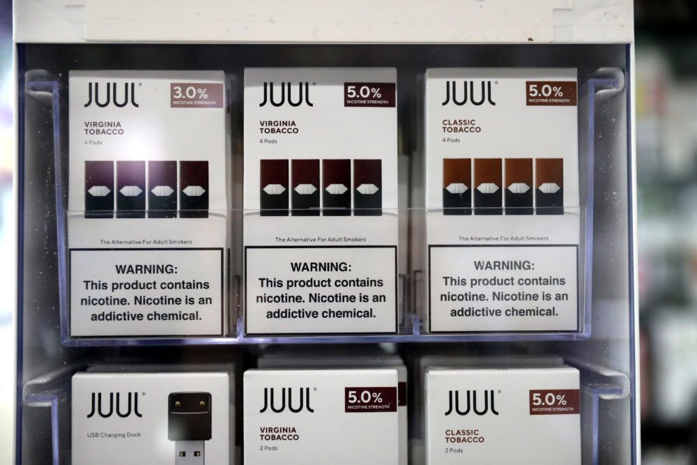 Juul products are displayed at Smoke and Gift Shop in San Francisco, California. (Justin Sullivan/Getty Images)
