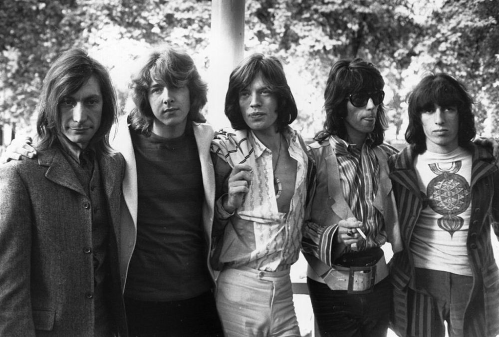 Rolling Stones on June 14, 1969, after the death of founder member Brian Jones. Left to right: drummer Charlie Watts, guitarist Mick Taylor, vocalist Mick Jagger, guitarist Keith Richards and bass player Bill Wyman.  (Len Trievnor/Express/Getty Images)