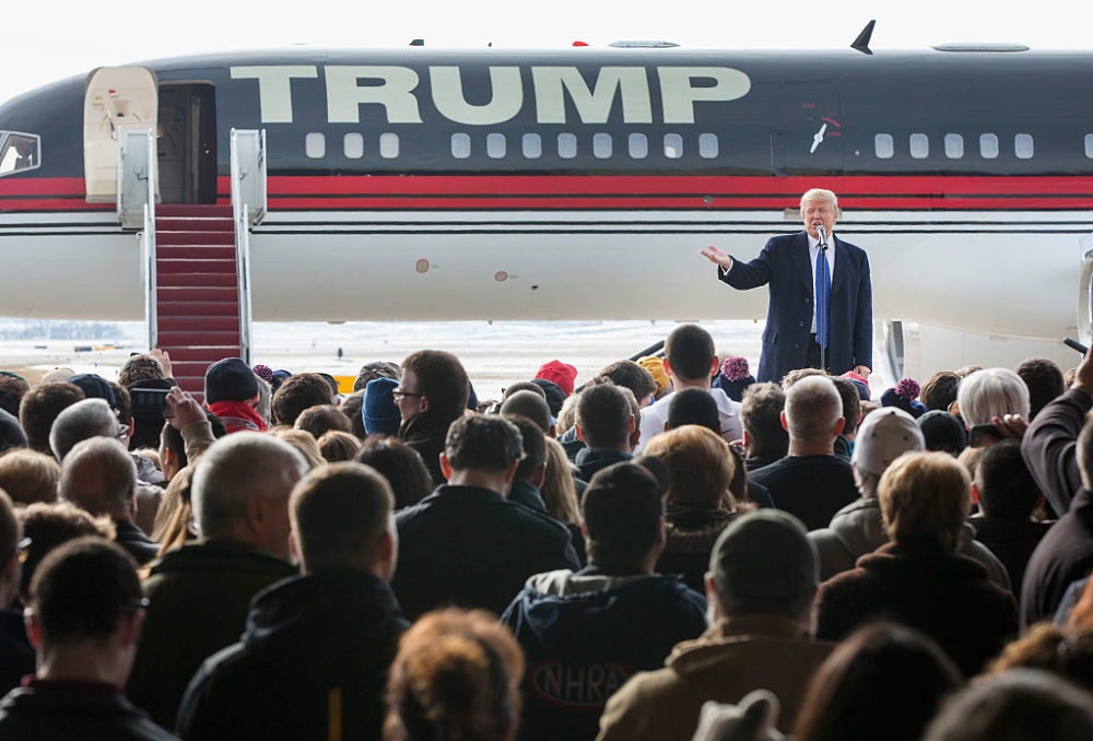 Trump speaks to guests during a rally at the airport on January 30, 2016, in Dubuque, Iowa. (Scott Olson/Getty Images)