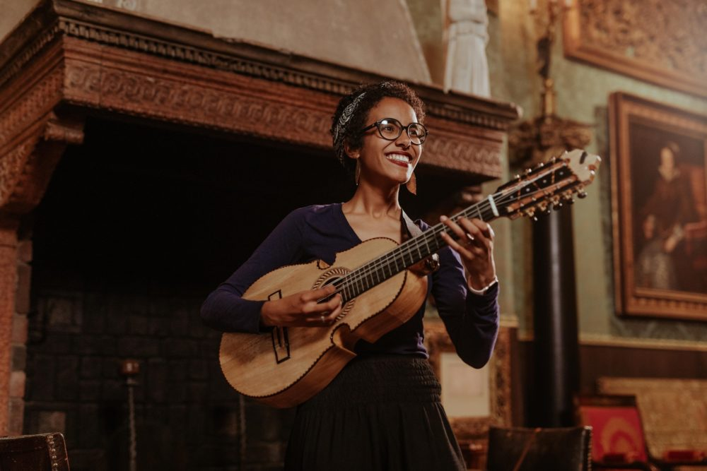 Fabiola Mendez playing at the Isabella Stewart Gardner Museum. (Courtesy Ally Schmaling)