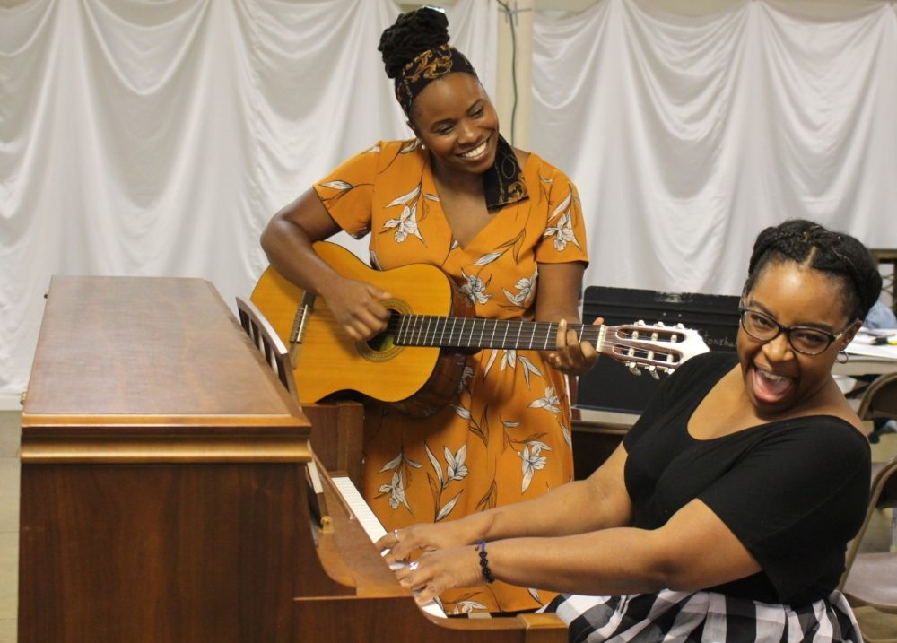 "Lovely Hoffman as Sister Rosetta Tharpe and Pier Lamia Porter as Marie Knight in rehearsal for ""Marie and Rosetta."" (Courtesy Kelly Gaudet)"