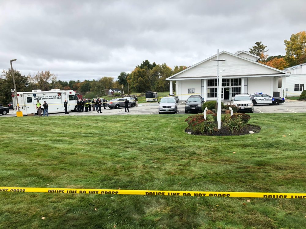 The scene of the reported shooting in Pelham, outside the New England Pentecostal Ministries. (Michael Brindley/NHPR)