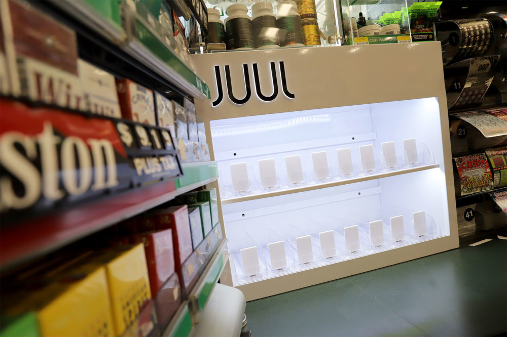 A Juul display was cleared out in September at Richdale Convenience Store across from the State House in Boston. (Sam Doran/SHNS)