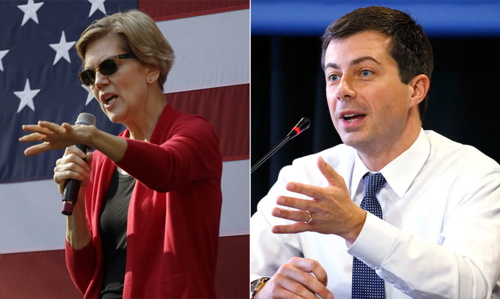 Elizabeth Warren and Pete Buttigieg both campaigned in New Hampshire Thursday. (Elise Amendola, Mary Schwalm/AP)